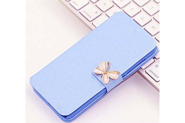 Фирменный роскошный чехол-книжка безумно красивый декорированный бусинками и кристаликами на Huawei Y7 (TRT-LX1) 5.5 голубой