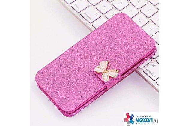 Фирменный роскошный чехол-книжка безумно красивый декорированный бусинками и кристаликами на Huawei Y7 (TRT-LX1) 5.5 розовый с цветочком