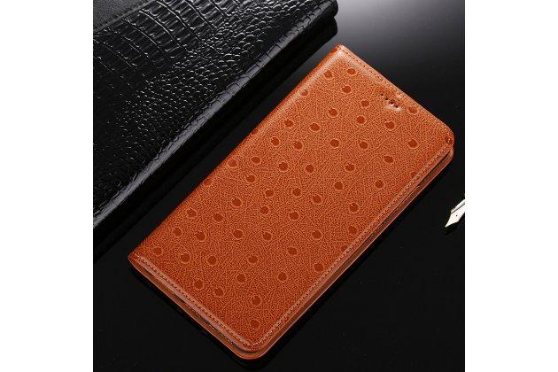 Фирменный роскошный эксклюзивный чехол с рельефом кожи страуса коричневый для Huawei Y7 (TRT-LX1) 5.5