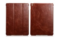 """Фирменный премиальный чехол бизнес класса для iPad Air 2 с визитницей из качественной импортной кожи """"Ретро"""" коричневый"""