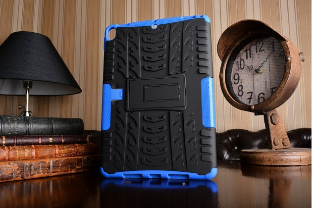 Противоударный усиленный ударопрочный фирменный чехол-бампер-пенал для iPad Pro 10.5 синий