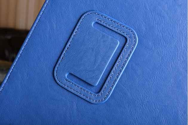 Фирменный чехол бизнес класса для iPad Pro 10.5 с визитницей и держателем для руки синий натуральная кожа Prestige Италия
