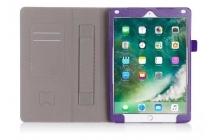Фирменный чехол бизнес класса для iPad Pro 10.5 с визитницей и держателем для руки фиолетовый натуральная кожа Prestige Италия