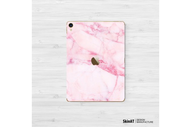 Фирменная оригинальная защитная пленка-наклейка с рисунком на твёрдой основе, которая не увеличивает в размерах для iPad Pro 10.5 тематика Розовый мрамор