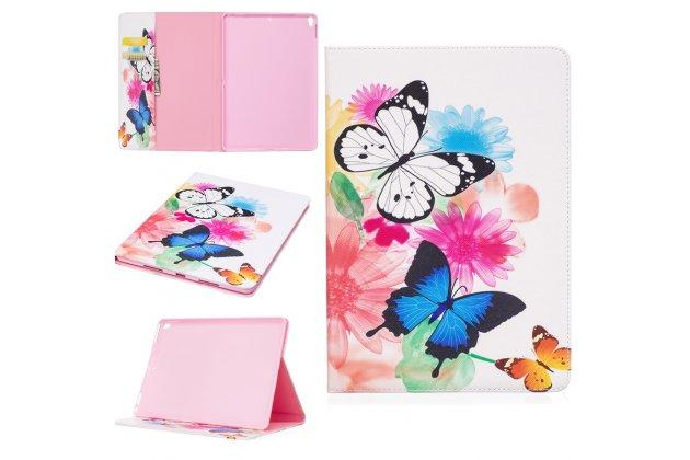 Фирменный уникальный необычный чехол-книжка для iPad Pro 10.5  тематика радужные Бабочки