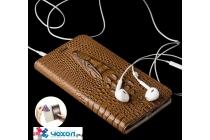 Фирменный роскошный эксклюзивный чехол с объёмным 3D изображением кожи крокодила коричневый для iPhone 7 . Только в нашем магазине. Количество ограничено