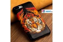 Фирменная роскошная эксклюзивная накладка с фактурным дизайном из натуральной кожи тематика Тигр для iPhone 7.