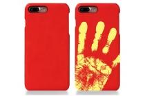 Фирменная ультра-тонкая пластиковая задняя панель-чехол-накладка для iPhone 7 красная с функцией реагирования на тепло