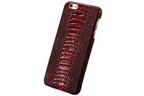 Фирменная неповторимая экзотическая панель-крышка обтянутая кожей крокодила с фактурным тиснением для iPhone 7 / iPhone 8 красный .