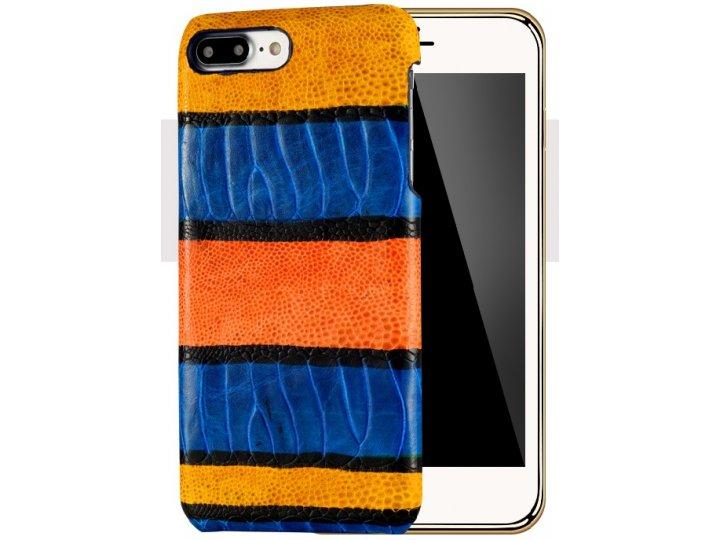 Фирменная неповторимая экзотическая панель-крышка обтянутая кожей крокодила с фактурным тиснением для iPhone 7..