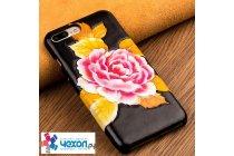 """Фирменная роскошная эксклюзивная накладка с фактурным дизайном из натуральной кожи тематика """"Нежный Пион """" желтые листья для iPhone 7 / iPhone 8."""