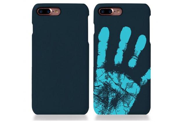 Фирменная ультра-тонкая пластиковая задняя панель-чехол-накладка для iPhone 7/ iPhone 8 синяя с функцией реагирования на тепло