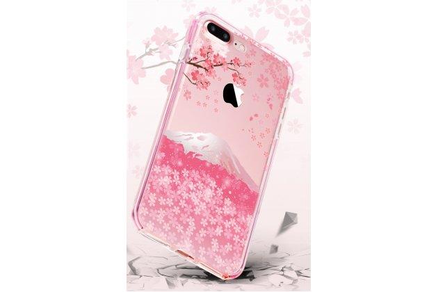 Фирменная уникальная задняя панель-крышка-накладка из тончайшего силикона для iPhone 7 / iPhone 8 с объёмным 3D рисунком тематика Fuji вишня