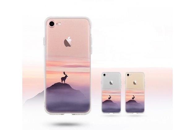 Фирменная уникальная задняя панель-крышка-накладка из тончайшего силикона для iPhone 7 / iPhone 8 с объёмным 3D рисунком тематика Лось