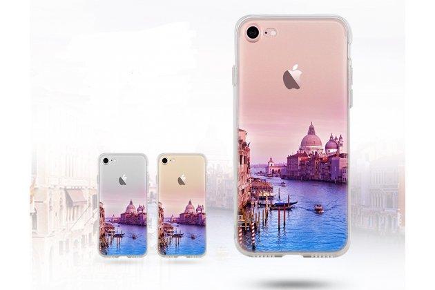Фирменная уникальная задняя панель-крышка-накладка из тончайшего силикона для iPhone 7 / iPhone 8 с объёмным 3D рисунком тематика Уотертаун