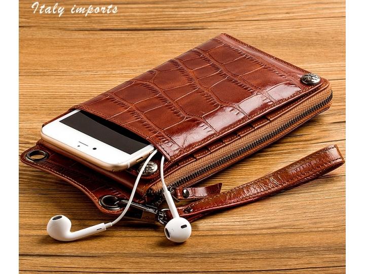 Фирменный чехол-портмоне-клатч-кошелек из качественной импортной кожи с фактурной отделкой лаковой кожи крокод..