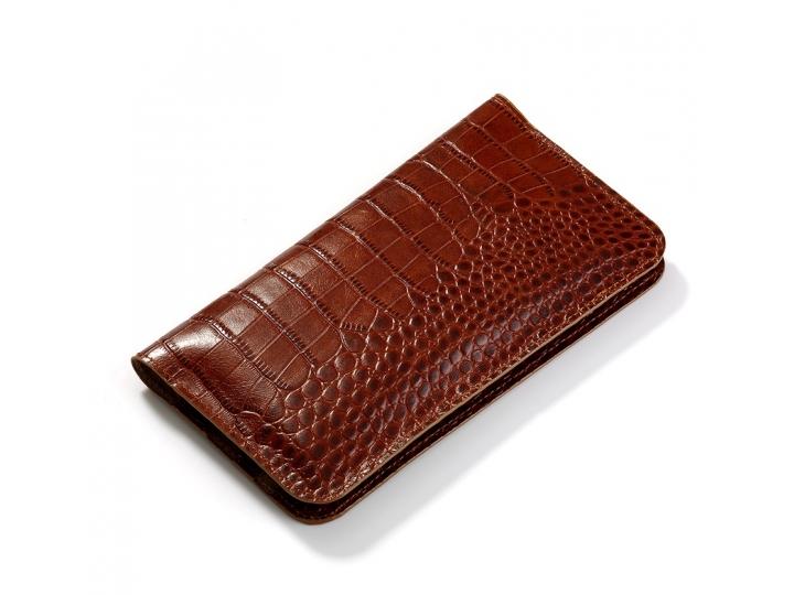 Фирменный эксклюзивный чехол-кошелек-портмоне с рельефом кожи крокодила коричневый для iPhone 7 / iPhone 8 из ..