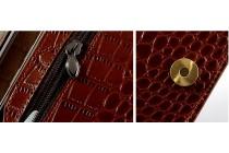 Фирменный эксклюзивный чехол-кошелек-портмоне с рельефом кожи крокодила коричневый для iPhone 7 / iPhone 8 из качественной импортной кожи премиум-класса с визитницей .