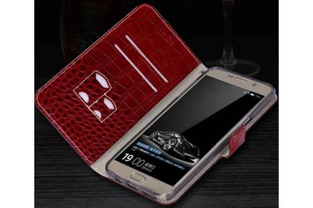 Фирменный роскошный эксклюзивный чехол с фактурной прошивкой рельефа кожи крокодила и визитницей красный для iPhone 7/ iPhone 8. Только в нашем магазине. Количество ограничено