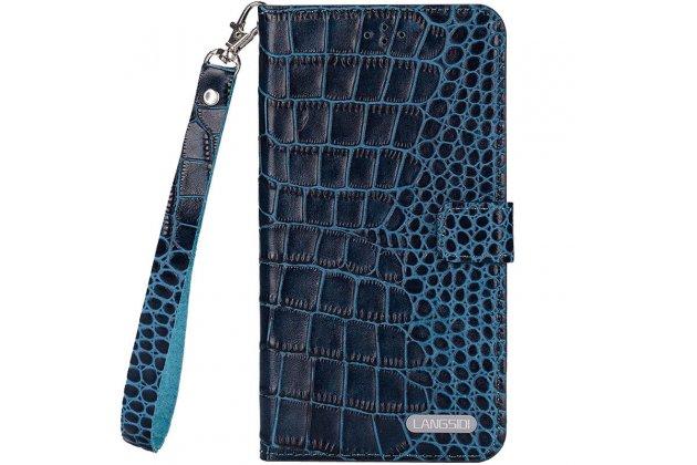 Фирменный роскошный эксклюзивный чехол с фактурной прошивкой рельефа кожи крокодила и визитницей синий для iPhone 7/ iPhone 8. Только в нашем магазине. Количество ограничено