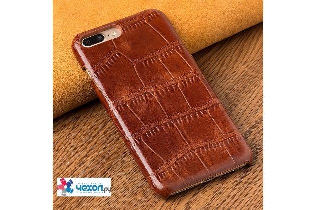 Фирменный роскошный эксклюзивный чехол с фактурной прошивкой рельефа кожи крокодила коричневый для iPhone 7/ iPhone 8. Только в нашем магазине. Количество ограничено