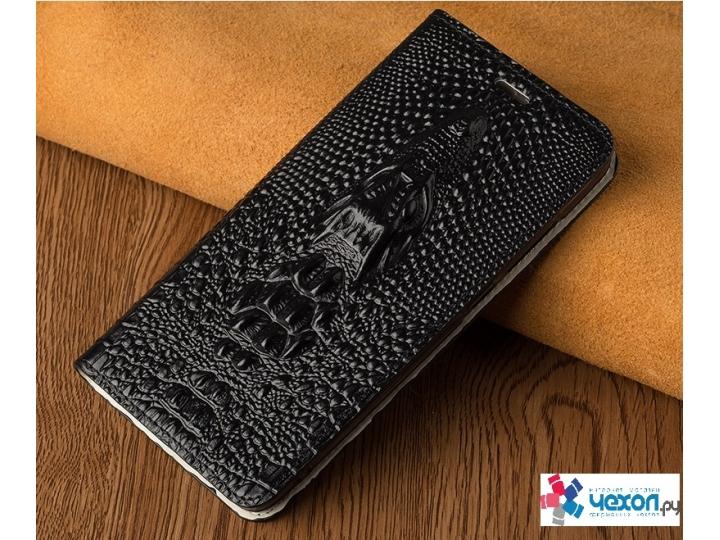 Фирменный роскошный эксклюзивный чехол с объёмным 3D изображением кожи крокодила  черный для iPhone 7 / iPhone..