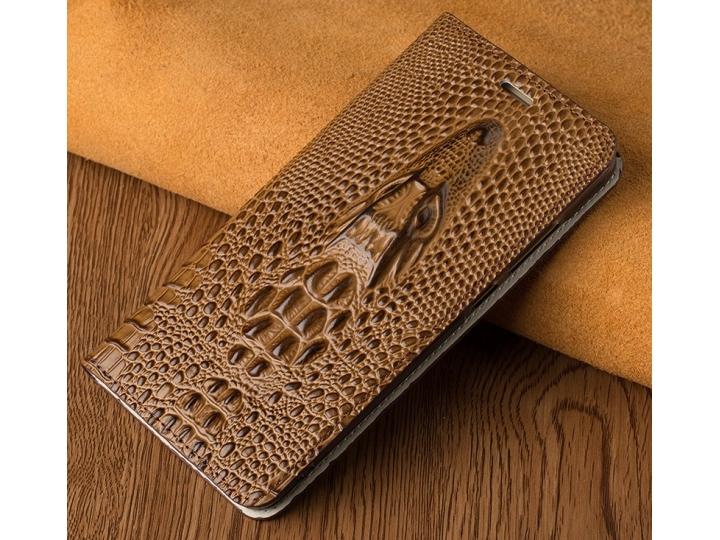 Фирменный роскошный эксклюзивный чехол с объёмным 3D изображением кожи крокодила коричневый для iPhone 7/ iPho..