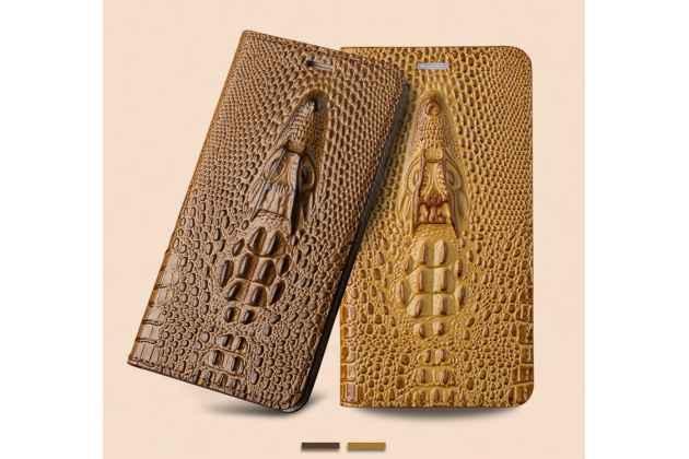 Фирменный роскошный эксклюзивный чехол с объёмным 3D изображением рельефа кожи крокодила бежевый для iPhone 7 / iPhone 8 . Только в нашем магазине. Количество ограничено