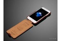 Фирменный оригинальный вертикальный откидной чехол-флип для iPhone 7 коричневый из натуральной кожи Prestige Италия