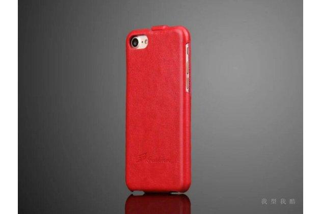 Фирменный оригинальный вертикальный откидной чехол-флип для iPhone 7 / iPhone 8 красный из натуральной кожи Prestige Италия