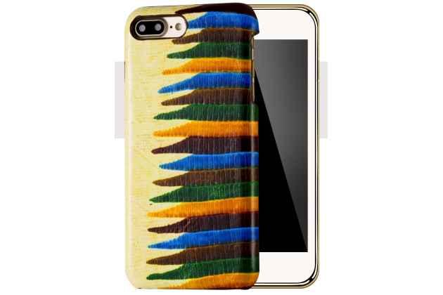 Фирменная неповторимая экзотическая панель-крышка обтянутая кожей крокодила с фактурным тиснением для iPhone 7 Plus / iPhone 8 Plus тематика Африканский Коктейль.