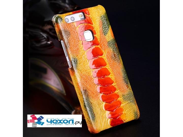 Фирменная роскошная эксклюзивная накладка из натуральной КОЖИ С НОГИ СТРАУСА оранжевая для iPhone 7 Plus / iPh..