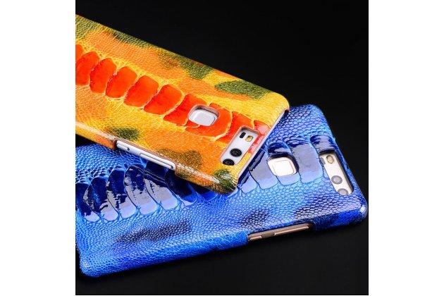 Фирменная роскошная эксклюзивная накладка из натуральной КОЖИ С НОГИ СТРАУСА сапфировая для iPhone 7 Plus / iPhone 8 Plus. Только в нашем магазине. Количество ограничено