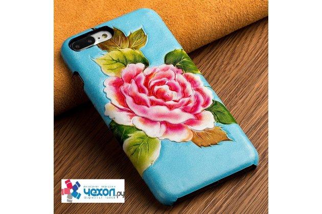 """Фирменная роскошная эксклюзивная накладка с фактурным дизайном из натуральной кожи тематика """"Нежный Пион """"  голубой с зелеными листьями для iPhone 7 Plus / iPhone 8 Plus"""
