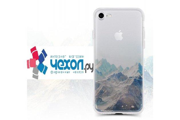 Фирменная роскошная задняя панель-чехол-накладка из мягкого силикона с объемным  3D изображением  на iPhone 7 Plus / iPhone 8 Plus c с безумно красивым рисунком Пики гор