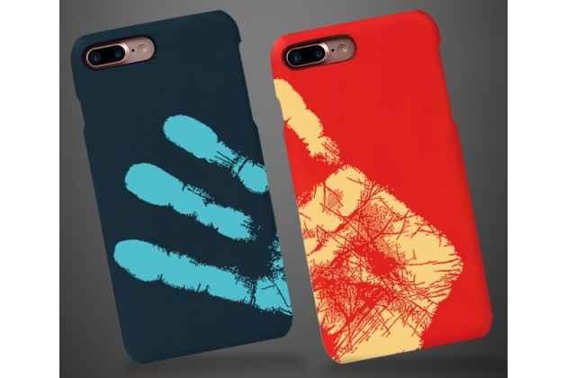 Фирменная ультра-тонкая пластиковая задняя панель-чехол-накладка для iPhone 7 Plus / iPhone 8 Plus синяя с функцией реагирования на тепло