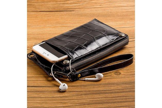 Фирменный чехол-портмоне-клатч-кошелек из качественной импортной кожи с фактурной отделкой лаковой кожи крокодила для iPhone 7 Plus / iPhone 8 Plus черный