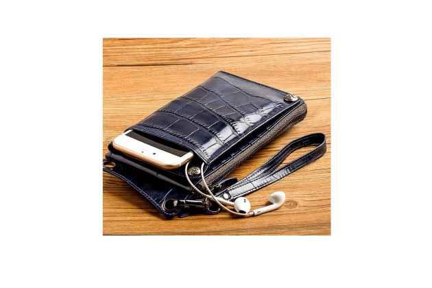 Фирменный чехол-портмоне-клатч-кошелек из качественной импортной кожи с фактурной отделкой лаковой кожи крокодила для iPhone 7 Plus/ iPhone 8 Plus синий