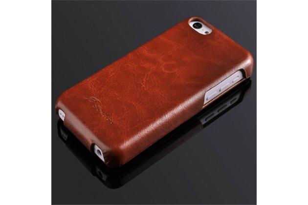 Фирменный премиальный чехол бизнес класса для iPhone 7 Plus + 5.5 / iPhone 8 Plus из качественной импортной кожи коричневый