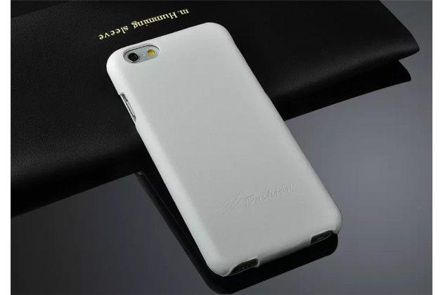 Фирменный премиальный чехол бизнес класса для iPhone 7 Plus / iPhone 8 Plus из качественной импортной кожи белый