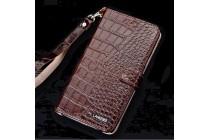 Фирменный роскошный эксклюзивный чехол с фактурной прошивкой рельефа кожи крокодила и визитницей коричневый для iPhone 7 Plus/iPhone 8 Plus. Только в нашем магазине. Количество ограничено