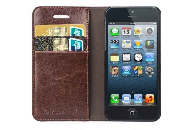 Фирменный премиальный элитный чехол-книжка из качественной импортной кожи с мульти-подставкой и визитницей для iPhone SE/ 5SE  розовый