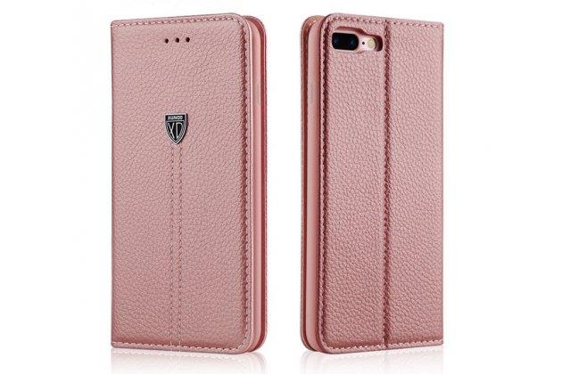 Фирменный премиальный чехол бизнес класса для iPhone SE/ 5SE с визитницей из качественной импортной кожи цвет розовое золото