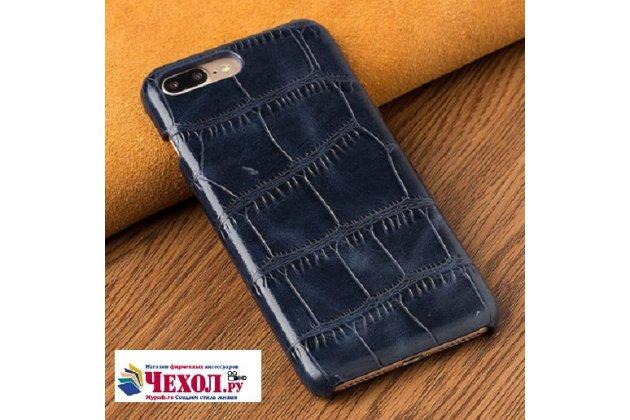 Фирменная неповторимая панель-крышка обтянутая кожей крокодила с фактурным тиснением для iPhone SE/ 5SE синяя