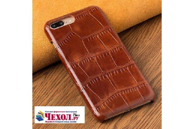 Фирменная неповторимая панель-крышка обтянутая кожей крокодила с фактурным тиснением для iPhone SE/ 5SE коричневая