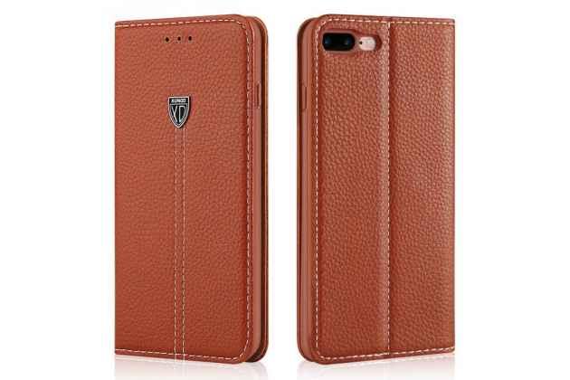 Фирменный премиальный чехол бизнес класса для iPhone SE/ 5SE с визитницей из качественной импортной кожи коричневый