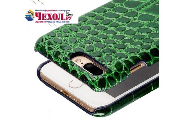 Фирменная неповторимая панель-крышка обтянутая кожей крокодила с фактурным тиснением для iPhone SE/ 5SE зеленая