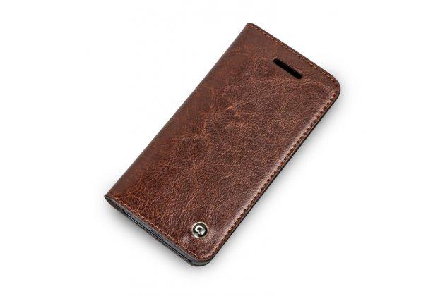 Фирменный премиальный элитный чехол-книжка из качественной импортной кожи с мульти-подставкой и визитницей для iPhone SE/ 5SE  коричневый