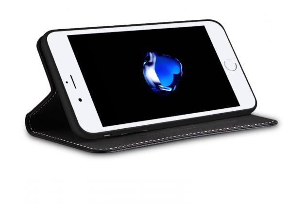 Фирменный премиальный чехол бизнес класса для iPhone SE/ 5SE с визитницей из качественной импортной кожи черный