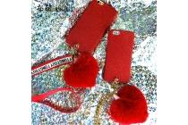 Фирменная уникальная задняя панель-крышка-накладка из трикотажа для iPhone 7 Plus + 5.5 PRODUCT RED Special Edition с меховым сердечком красная